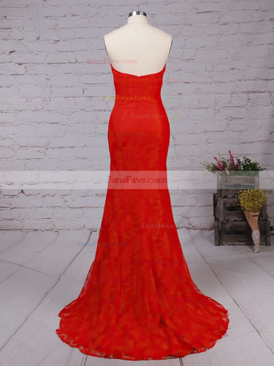 Trumpet/Mermaid Sweetheart Lace Sweep Train Prom Dresses #Favs020102187