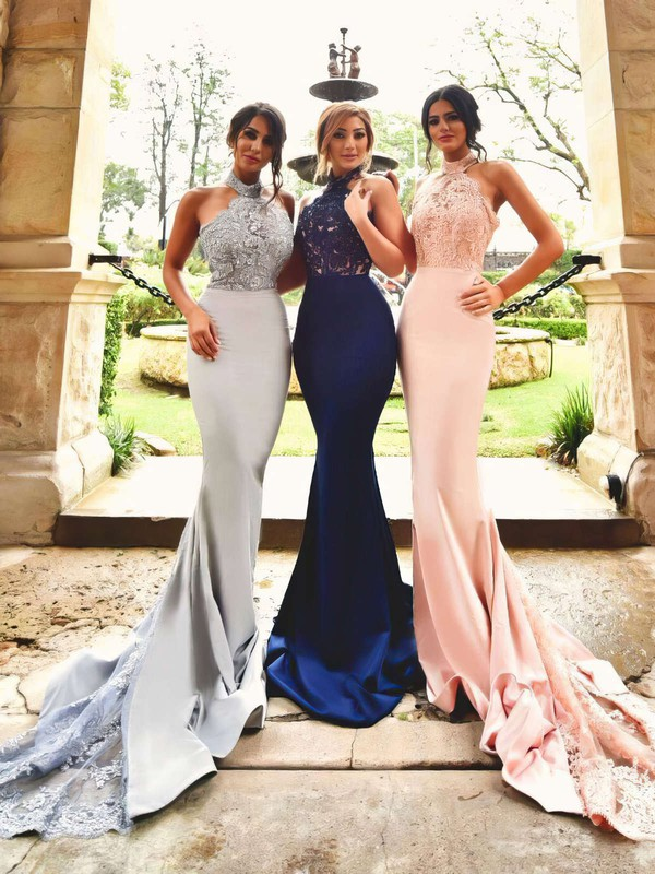 Trumpet/Mermaid Halter Court Train Silk-like Satin Prom Dresses with Appliques Lace Sequins #Favs020103600
