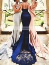 Trumpet/Mermaid Halter Jersey Court Train Appliques Lace Prom Dresses #Favs020103600