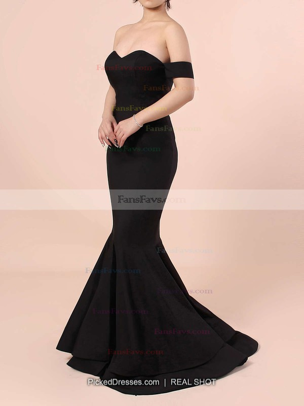 Trumpet/Mermaid Off-the-shoulder Silk-like Satin Floor-length Split Front Prom Dresses #Favs020103751