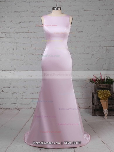 Sheath/Column Scoop Neck Sweep Train Silk-like Satin Prom Dresses with Ruffle #Favs020104408