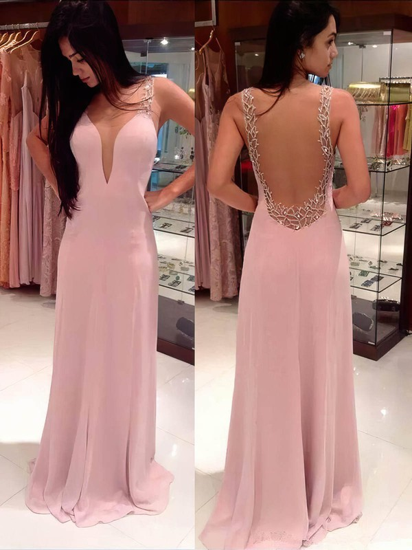A-line V-neck Sweep Train Silk-like Satin Prom Dresses with Beading #Favs02016058