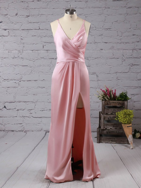 Trumpet/Mermaid V-neck Floor-length Satin Chiffon Prom Dresses with Split Front #Favs020104553