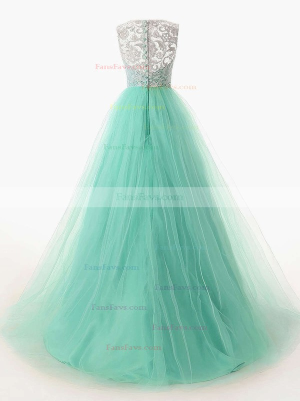 A-line Scoop Neck Sweep Train Lace Tulle Prom Dresses with Ruffle Buttons #Favs020101174