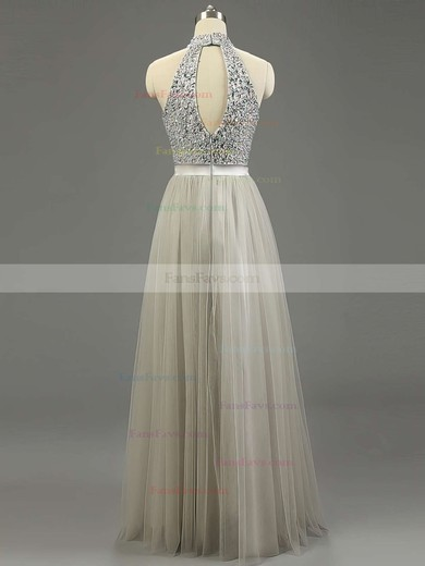 A-line High Neck Floor-length Tulle Prom Dresses with Beading Sashes #Favs020101636