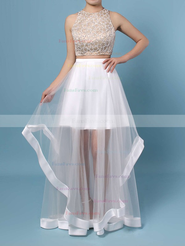 A-line Scoop Neck Floor-length Tulle Prom Dresses with Beading #Favs020102393