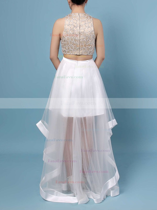 A-line Scoop Neck Tulle Floor-length Beading Prom Dresses #Favs020102393