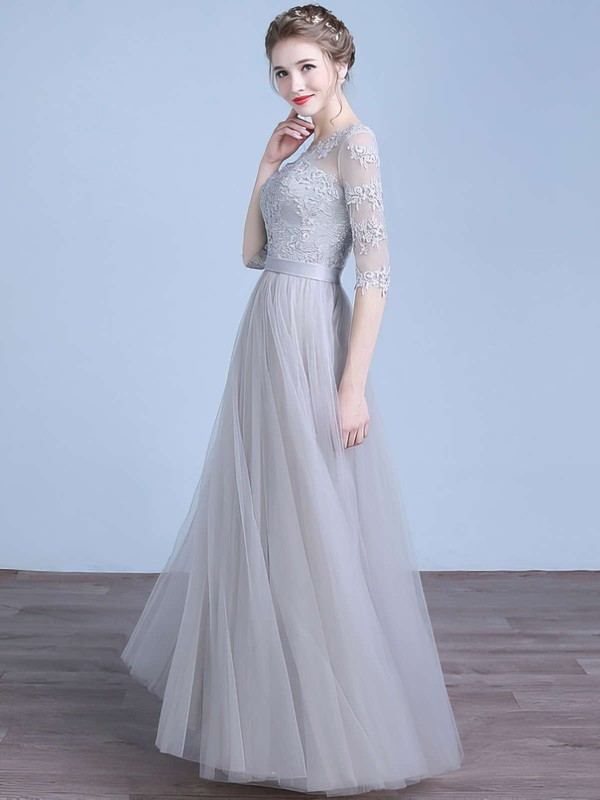A-line Scoop Neck Floor-length Tulle Prom Dresses with Appliques Lace Sashes #Favs020102645