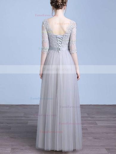A-line Scoop Neck Tulle Floor-length Appliques Lace Prom Dresses #Favs020102645