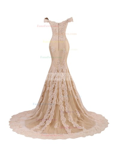 Trumpet/Mermaid Off-the-shoulder Sweep Train Tulle Appliques Lace Prom Dresses #Favs020102677