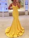 Trumpet/Mermaid V-neck Silk-like Satin Sweep Train Ruffles Prom Dresses #Favs020104529