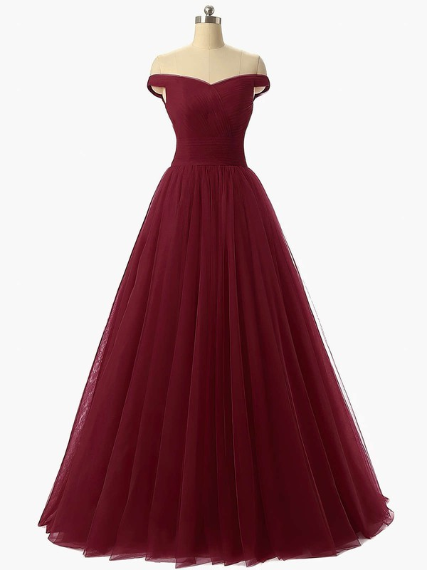 Princess Off-the-shoulder Tulle Floor-length Ruffles Prom Dresses #Favs020102678