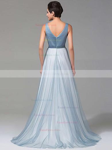 A-line V-neck Tulle Floor-length Beading Prom Dresses #Favs020102764