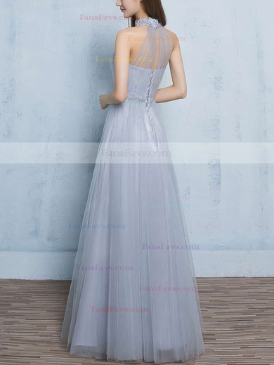 A-line High Neck Floor-length Tulle Prom Dresses with Appliques Lace Ruffle #Favs020102925