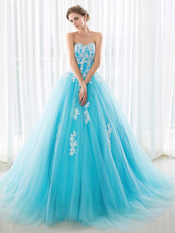 Ball Gown Sweetheart Sweep Train Tulle Prom Dresses with Sequins Appliques Lace #Favs020103029
