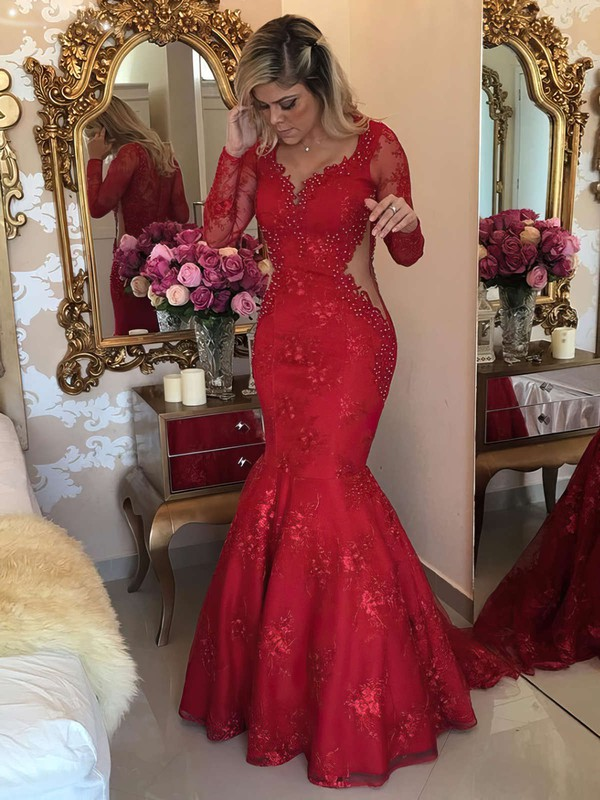 Trumpet/Mermaid V-neck Sweep Train Tulle Prom Dresses with Appliques Lace #Favs020103463