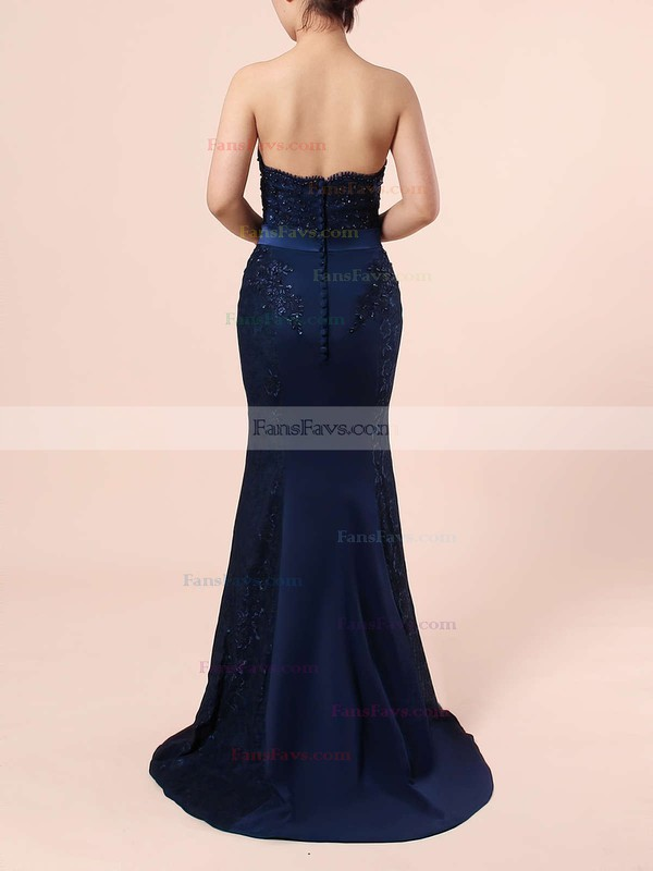 Trumpet/Mermaid Sweetheart Silk-like Satin Sweep Train Appliques Lace Prom Dresses #Favs020104580