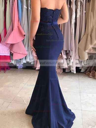 Trumpet/Mermaid Sweetheart Sweep Train Silk-like Satin Prom Dresses with Appliques Lace #Favs020104580