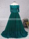 A-line Off-the-shoulder Lace Tulle Floor-length Appliques Lace Prom Dresses #Favs020104467