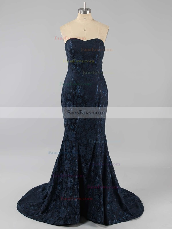 Trumpet/Mermaid Sweetheart Lace Court Train Prom Dresses #Favs02016061