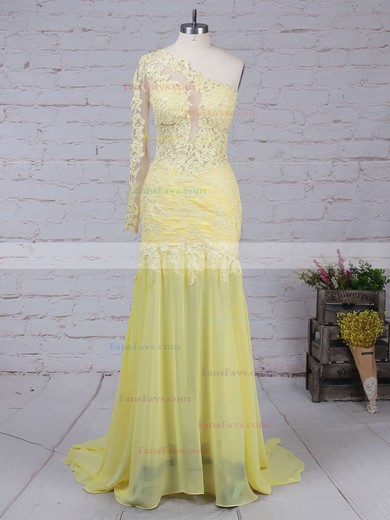 Trumpet/Mermaid One Shoulder Chiffon Sweep Train Appliques Lace Prom Dresses #Favs02016068