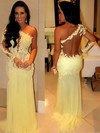Trumpet/Mermaid One Shoulder Sweep Train Chiffon Tulle Prom Dresses with Ruffle Appliques Lace #Favs02016068
