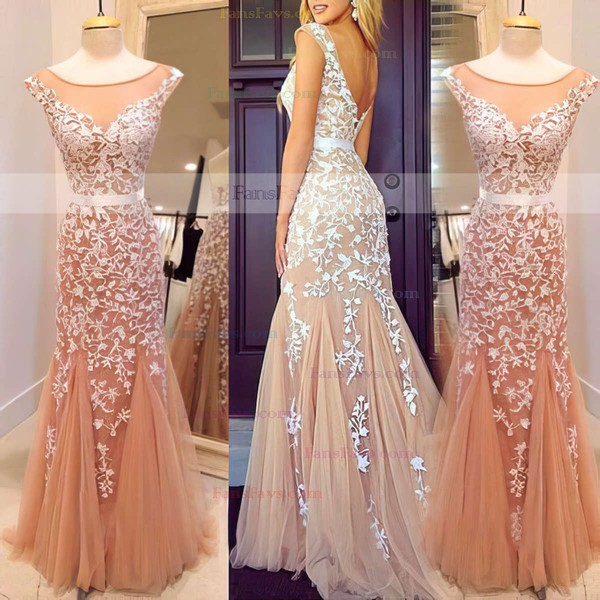 Trumpet/Mermaid Scoop Neck Floor-length Tulle Prom Dresses with Appliques Lace #Favs02016778
