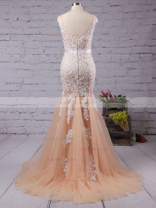 Trumpet/Mermaid Scoop Neck Tulle Floor-length Appliques Lace Prom Dresses #Favs02016778