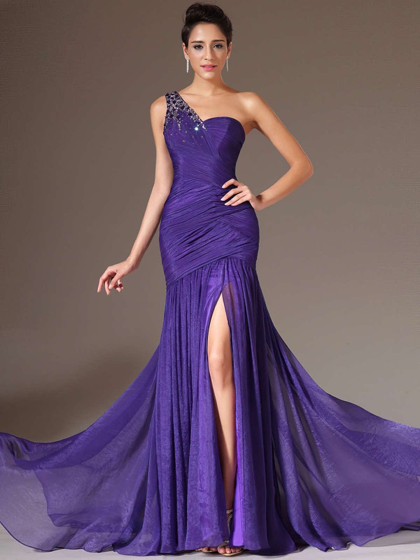 Trumpet/Mermaid One Shoulder Sweep Train Chiffon Prom Dresses with Beading Split Front #Favs020101289