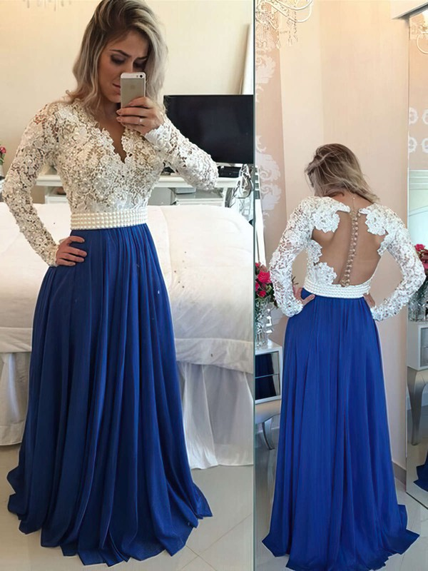 A-line V-neck Lace Chiffon Floor-length Pearl Detailing Prom Dresses #Favs020101388