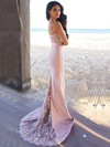 Trumpet/Mermaid Sweetheart Sweep Train Silk-like Satin Prom Dresses with Appliques Lace #Favs020104584