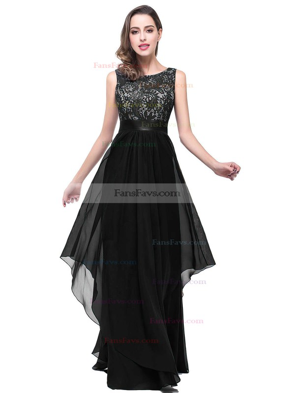 A-line Scoop Neck Lace Chiffon Floor-length Sashes / Ribbons Prom Dresses #Favs020101628