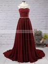 A-line Scoop Neck Chiffon Sweep Train Beading Prom Dresses #Favs020101794
