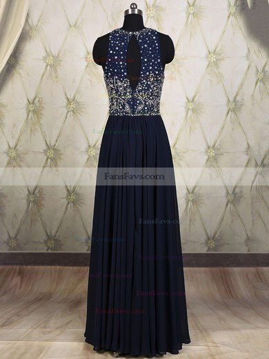 A-line Scoop Neck Chiffon Floor-length Beading Prom Dresses #Favs020101818