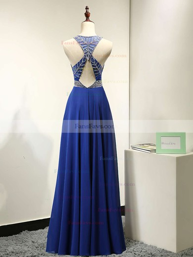 A-line Scoop Neck Chiffon Floor-length Beading Prom Dresses #Favs020101838