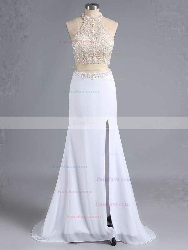 Sheath/Column Halter Sweep Train Chiffon Tulle Prom Dresses with Beading #Favs020101849