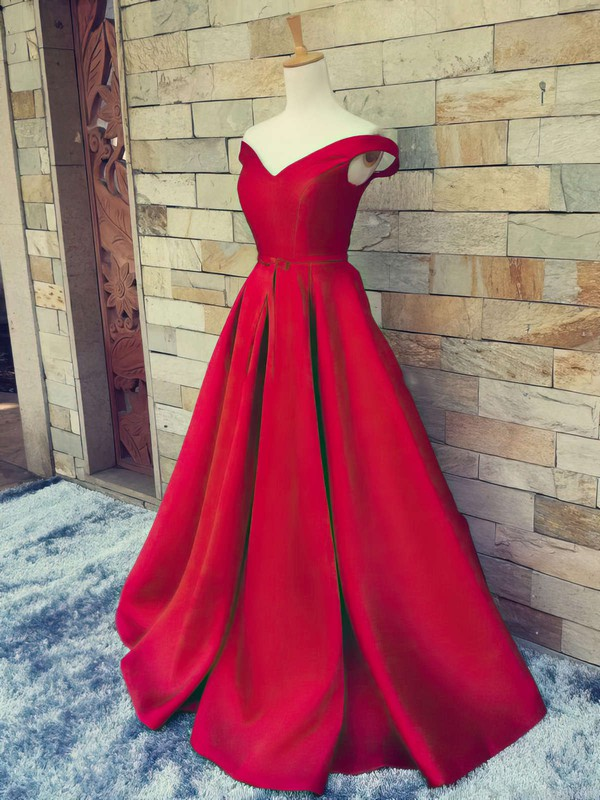 Ball Gown Off-the-shoulder Satin Sweep Train Sashes / Ribbons Prom Dresses #Favs020101855