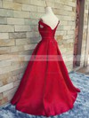 A-line Off-the-shoulder Sweep Train Satin Prom Dresses with Sashes #Favs020101855