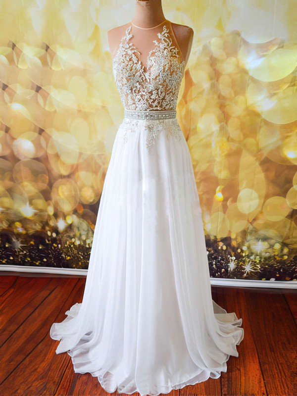 A-line Scoop Neck Sweep Train Tulle Chiffon Prom Dresses with Appliques Lace Beading #Favs020102042