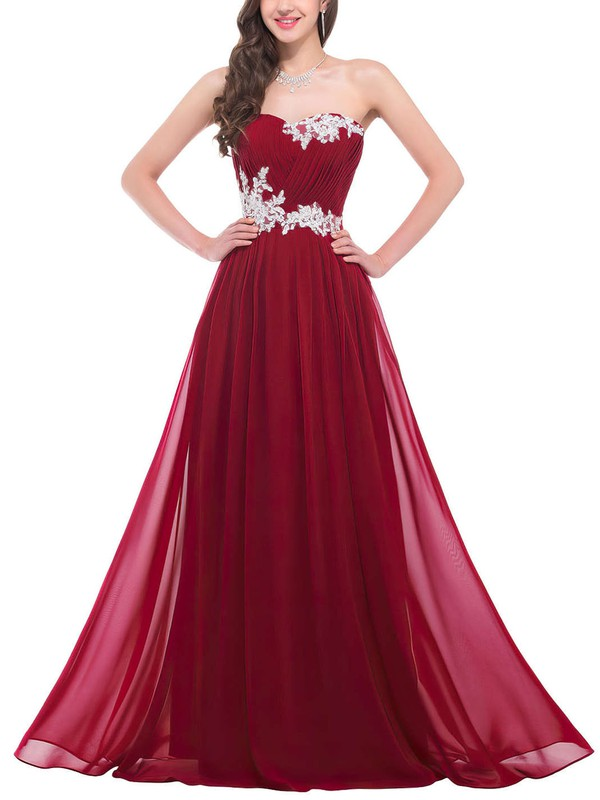 A-line Sweetheart Floor-length Chiffon Prom Dresses with Appliques Lace Ruffle #Favs020102043