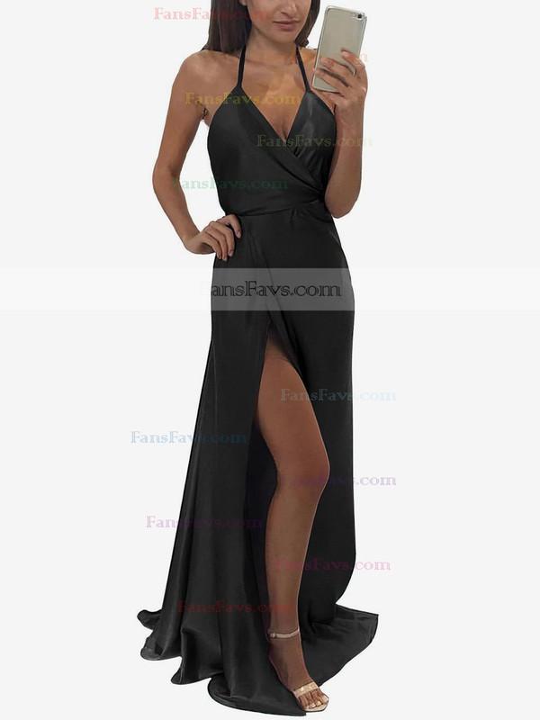 A-line V-neck Halter Floor-length Silk-like Satin Prom Dresses with Split Front #Favs020104588