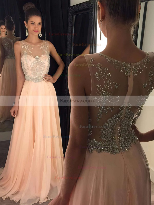 A-line Scoop Neck Chiffon Sweep Train Beading Prom Dresses #Favs020102320