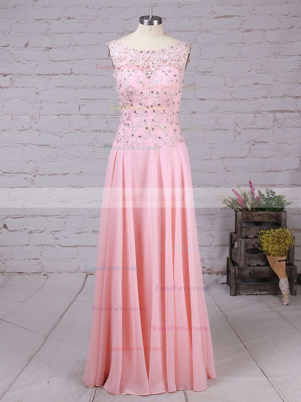 A-line Scoop Neck Chiffon Sweep Train Appliques Lace Prom Dresses #Favs020102395