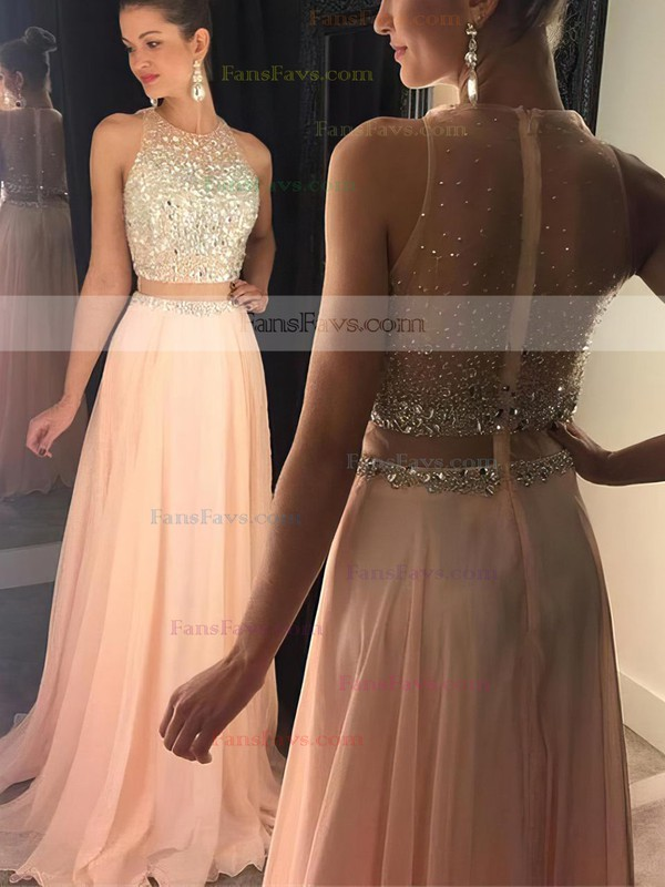 A-line Scoop Neck Sweep Train Chiffon Tulle Prom Dresses with Beading #Favs020102442