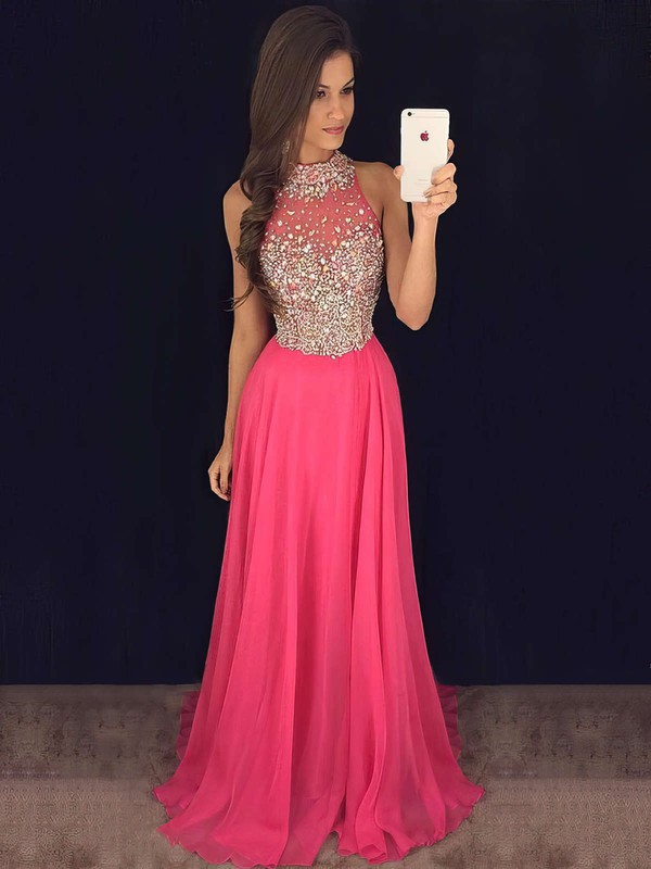 A-line High Neck Sweep Train Chiffon Tulle Prom Dresses with Beading #Favs020102445