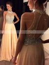 A-line High Neck Chiffon Sweep Train Beading Prom Dresses #Favs020102445
