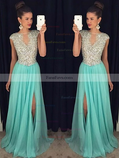 A-line Scoop Neck Chiffon Sweep Train Split Front Prom Dresses #Favs020102447