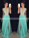 A-line Scoop Neck Sweep Train Chiffon Tulle Prom Dresses with Split Front #Favs020102447