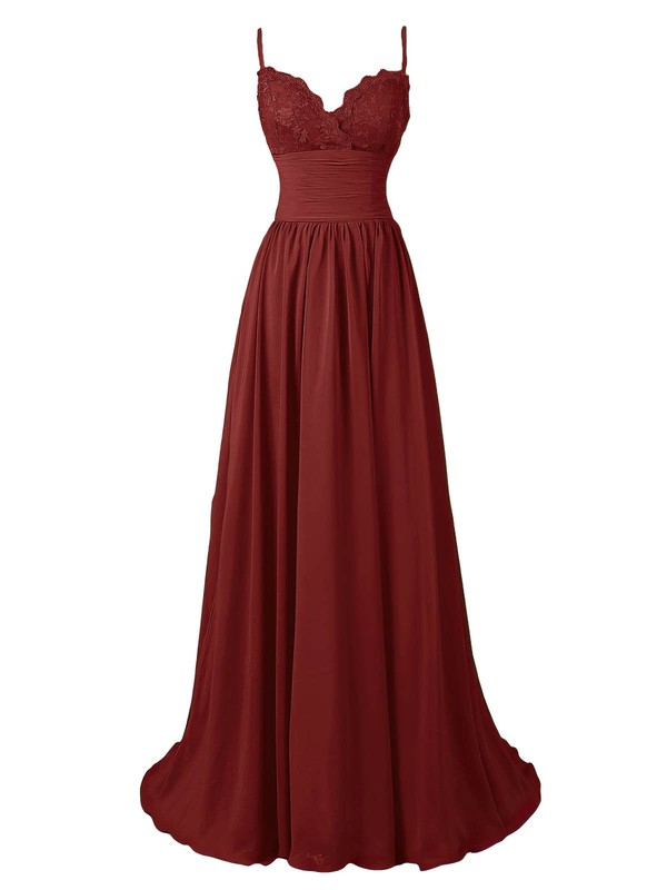 A-line V-neck Sweep Train Chiffon Prom Dresses with Appliques Lace Ruffle #Favs020102675