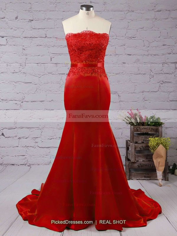 Trumpet/Mermaid Strapless Satin Sweep Train Appliques Lace Prom Dresses #Favs020102860